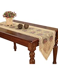 Simhomsen Embroidered Gold Floral Lace Table Runner and scarves 16 By 72 Inch