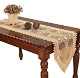 Lilian Embroidered Gold Floral Lace Table Runner and scarves 16 By 72 Inch
