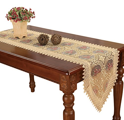 Simhomsen Embroidered Gold Floral Lace Table Runner and scarves 16 By 72 Inch -