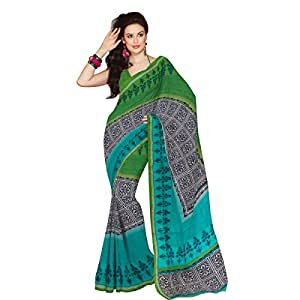 Shilp-Kala Blended Cotton Printed Green Colored Sarees SKXKM6C