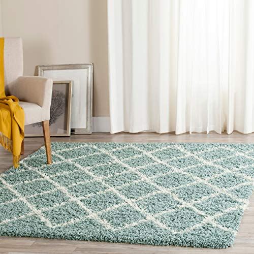 Safavieh Dallas Shag Collection SGD258C Seafoam and Ivory Square Area Rug (6' Square) (Square Green Shag Rug)