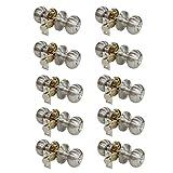 10 Pack Probrico Entrance Door Lock Bedroom Keyed Door Knobs Door Handle Lockset 609-SN-ET Round Knob Brushed Satin Nickel