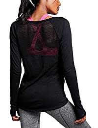 Ssyiz Women's Long Sleeve Stretchy Top Solid Color Fashion T Shirt,3278-Black,Small