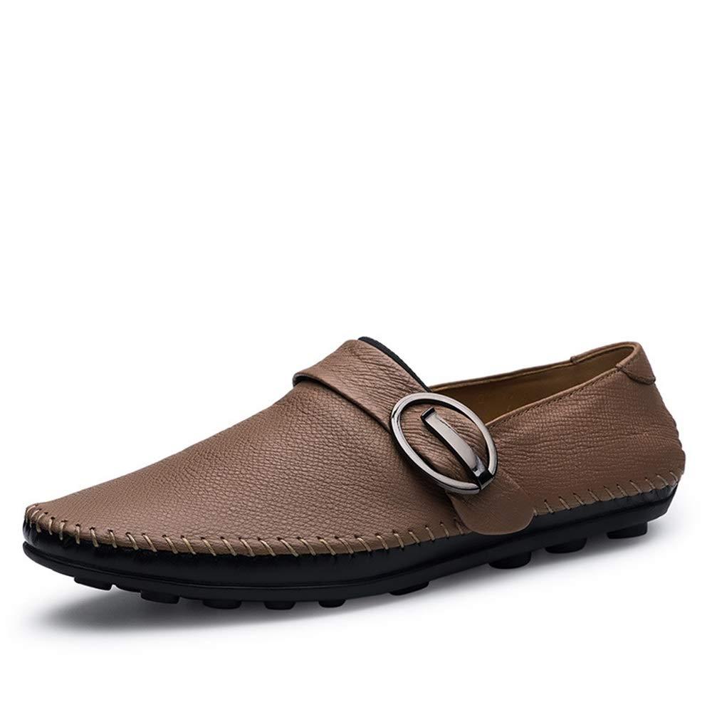 Qiusa Slip on Echtes Leder Schuhe Schuhe Schuhe für Männer Weiche Sohle Rutschfeste Atmungs Loafers (Farbe   Braun, Größe   EU 44) 78a73c