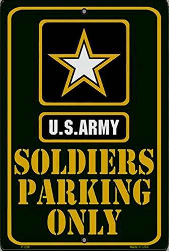 """Rico Industries Army Soldier Parking Green Large 12""""x18"""" Metal Parking Sign Embossed Room Wall US United States Military"""