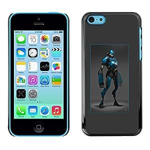 "For Apple iPhone 5C Case , Héroe Azul Negro Traje de Robot carácter cómico"" - Diseño Patrón Teléfono Caso Cubierta Case Bumper Duro Protección Case Cover Funda"