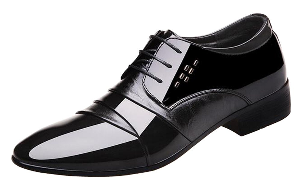 missfiona 2017 Men's Spring Lace-up Colorblocked Business Shoes Pointed Toe Leather Dress Shoes(9.5, Black)