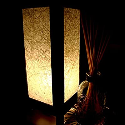 White Nature Fibers Table Lamp Lighting Shades Floor Desk Outdoor Touch Room Bedroom Modern Vintage Handmade Asian Oriental Wood LED Bedside Gift Art Home Garden Christmas; Free Adapter; Us 2 Pin Plug #107