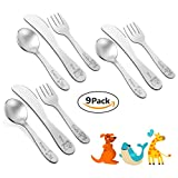 9 Piece Toddler Kids Preschoolers Utensil Flatware Silverware Cutlery Set by Teivio, Includes 3 Knives, 3 Forks, 3 Spoons, Laser Carved Animal