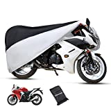 Eleloveph Motorcycle Cover - All Season Waterproof Outdoor Protection - Precision Fit for Tour Bikes, Choppers and Cruisers Protect Against Dust,Rain,Snow and Sun (XXXXL-116''x43''x55'', Black&Sliver)