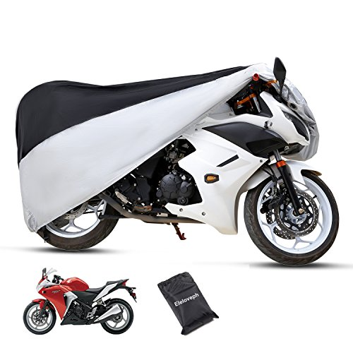 Eleloveph Motorcycle Cover - All Season Waterproof Outdoor Protection - Precision Fit for Tour Bikes, Choppers and Cruisers Protect Against Dust,Rain,Snow and Sun (XXXXL-116''x43''x55'', Black&Sliver) by Eleloveph