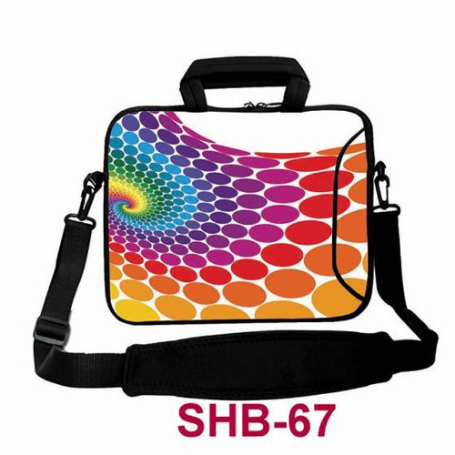 """Colorful Polka Dots Swirls 15"""" 15.4"""" 15.5"""" Laptop Shoulder Bag Carrying Case Cover for Acer Hp Dell Asus"""