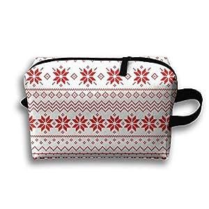 Women Handle Portable Travel Carry Bag Christmas Deer Snowflskes Cosmetic Bag High-capacity Toiletry Kits