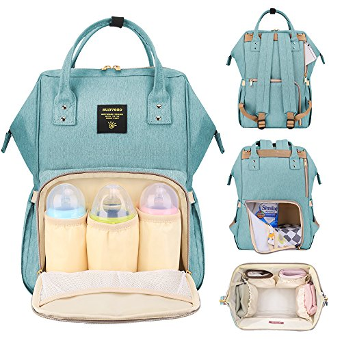 Sunveno Mummy Maternity Nappy Bag Brand Large Capacity Baby Bag Travel Backpack Desiger Nursing Bag for Baby Care Green