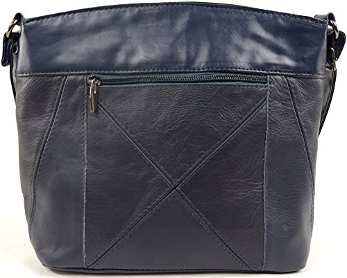 Womens Body with Bag Ladies Shoulder Pockets Navy Cross Multiple Leather dFxwBIZn