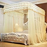 CUSHIONLIU Guide Rail Expansion Mosquito Nets Single Door Princess Wind Floor Style Beige 2.0m (6.6'') bed