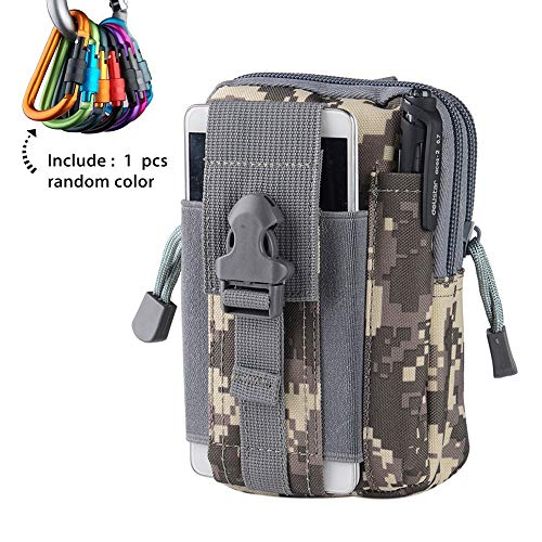 Tactical Molle Pouch, 1 Pcs Military EDC Bag Cell Phone Gear for Hiking, Camping, Trekking, Ruuning, Hunting, Climbing( Gray Camouflage)