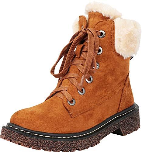 Cambridge Select Women's Faux Fur Lace-Up Chunky Lug Sole Combat Boot,7 B(M) US,Camel ()