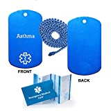 Asthma Medical Alert ID Dog Tag Pendant in Anodized Aluminum