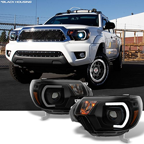 [TRD PRO U-Bar] [Mono-Eye] 2012 2013 2014 15 Toyota Tacoma LED DRL Projector Black Smoke Headlights