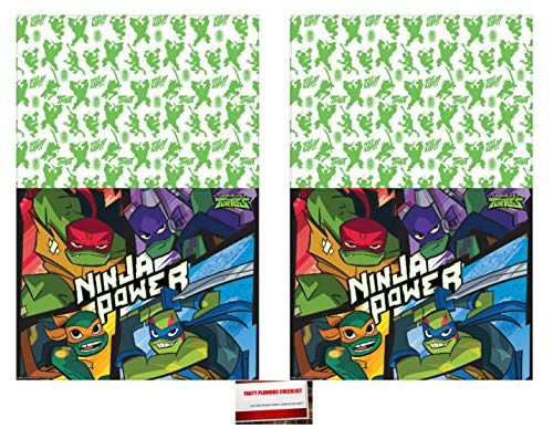 Teenage Mutant Ninja Turtles TMNT Birthday PlasticTable Cover (2 Pack), 54 x 96 Inches (Plus Party Planning Checklist by Mikes Super Store) ()