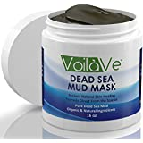 VoilaVe Dead Sea Mud Mask, Larger 16 oz. Jar Imported from Israel, Organic Facial Mask with Shea Butter, Sunflower Oil, and Aloe Vera Detoxifies, Exfoliates, Moisturizes and Restores Skin's Natural Radiance
