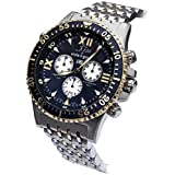 Xezo for Unite4:good Air Commando Mens Swiss Diver Pilot Chronograph Watch,Dual Time. Day,Date.Gold Pl