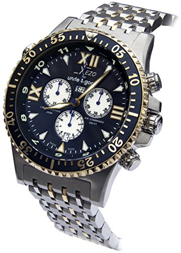 Xezo Men's Air Commando Swiss-Quartz Luxury Sports Chronograph Watch D45-BU, 2nd Time Zone, 200 Meters WR. Gold Accents
