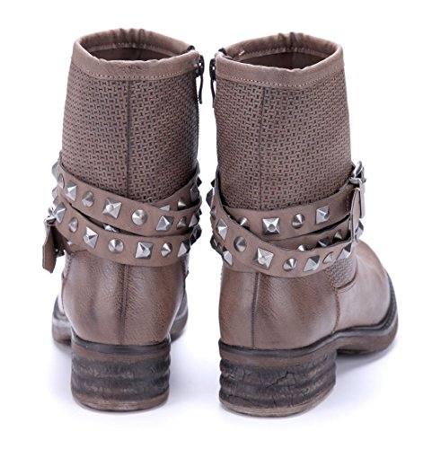 Schuhtempel24 Damen Schuhe Boots Stiefel Stiefeletten Blockabsatz Schnalle/Nieten 4 cm Khaki
