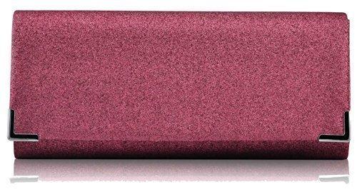 Bolso de mano para mujer, diseño de cristal, de fiesta, de noche Pink Glitter Clutch Bag