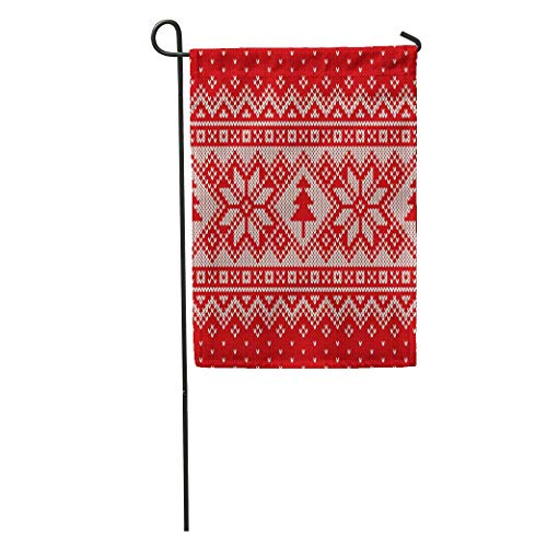 (YhouqukehTshirt Garden Flag Winter Holiday Knitting Pattern Christmas Trees and Snowflakes Fair Isle Home Yard House Decor Barnner Outdoor Stand 12x18 Inches Flag)