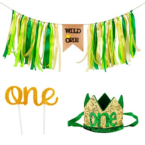 QIFU Wild One First Birthday Decorations, 1st Birthday Boy Girls Decorations Cake Smash Crown, Wild One HighChair Banner, Jungle Theme Party Supplies -