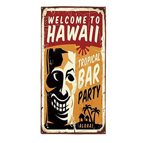 Tiki Bar Decor Fashionable Tablecloth,Welcome to Hawaii Tropical Bar Party Retro Style Grunge Signboard Picture for Secretaire Square Table Office Table,24''W X 48''L Bar Sign 24' Tropical Decor