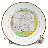 3dRose Lens Art by Florene - Topo Maps, Flags of States - Image of New Mexico Topographic Map with Flag - 8 inch Porcelain Plate (cp_291415_1)