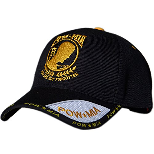(US HONOR Embroidered Shadow POW/MIA Yellow Logo Baseball Caps Hats)