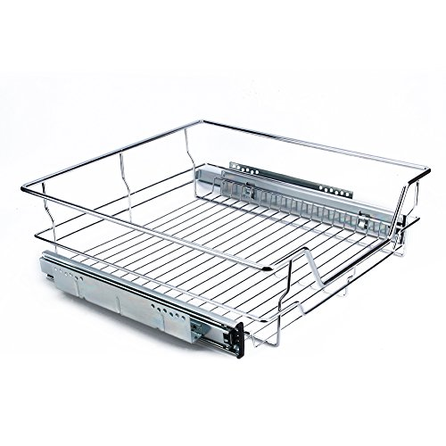 Kitchen Sliding Cabinet Organizer Pull Out Chrome Wire Storage Basket Drawer for Kitchen Cabinets Cupboards (Shelf length is 416mm and fits 500mm cabinet)
