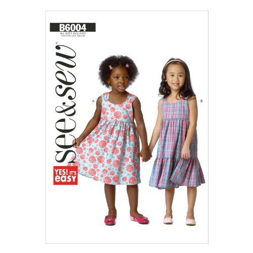 Butterick Patterns B60040A0 Toddlers'/Children's Dress Sewing Template, Size A (All Sizes In One (Skirt Dress Sewing Pattern)