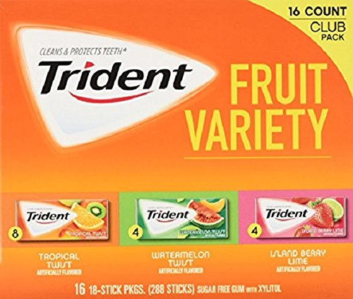 Trident Sugar Free Gum Variety Packs - 16 Packs of 18 Pieces