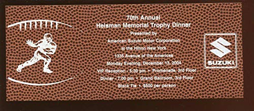 (2004 Heisman Trophy Dinner Full Ticket NRMT - College Autographed Miscellaneous Items)