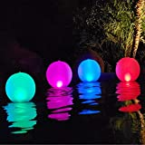 3. Esuper Floating Ball Pool Light Solar Powered 4 PCS, 14 Inch Inflatable Hangable IP68 Waterproof Rechargeable 4 Color Changing Led Glow Globe Pool Night Lamp for Garden, Backyard,Pond, Party Decor