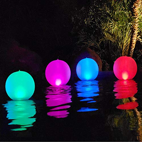affordable Esuper Floating Ball Pool Light Solar Powered 4 PCS, 14 Inch Inflatable Hangable IP68 Waterproof Rechargeable 4 Color Changing Led Glow Globe Pool Night Lamp for Garden, Backyard,Pond, Party Decor