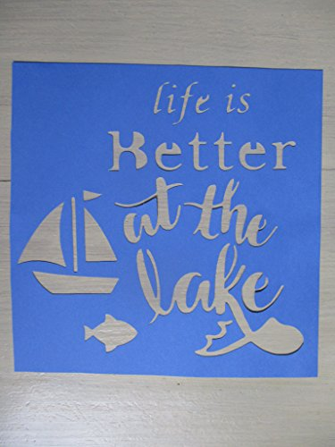 Vintage look LIFE IS BETTER AT THE LAKE sailboat boat fish new calligraphy old timey antique primitive look cardstock STENCIL for painting on wood, paper, fabric QTY 2