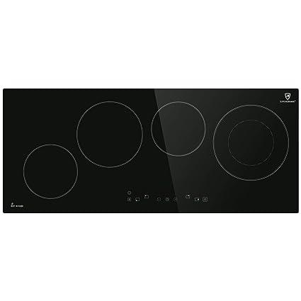 Encimera vitrocerámica 90cm (autosuficiente, 6,4kW, 9 escalones, 4 zonas, sin marco, poca profundidad, al tacto, temporizador automático) KF9000RL - ...