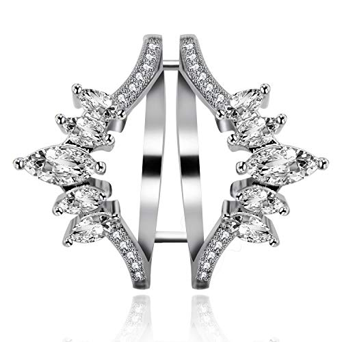 Uloveido Womens Platinum Plated Marquise Cut White Cubic Zirconia Guard Enhancer for Pear Shaped CZ Solitaire Wide Wedding Bands Engagement Ring Gift (Size 6) Y445 ()