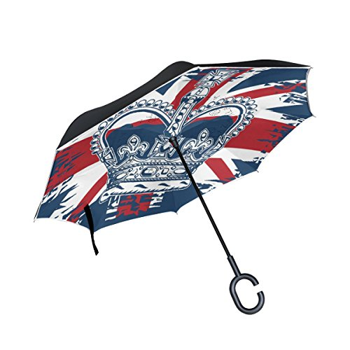 THENAHOME Reverse Inverted Auto Open Umbrella Compact Lightweight Straight Umbrellas with Crown UK Flag Background for Car & Outdoor