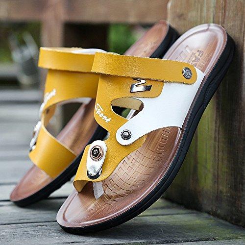 Xing Lin Sandales En Cuir Chaussures De Plage Occasionnels DÉté Antidérapant Pour Hommes Soins Des Pieds Clip Sandales Chaussures Hommes Chaussures Tendance Nouvelle En Cuir Supérieur Cool Pantoufles