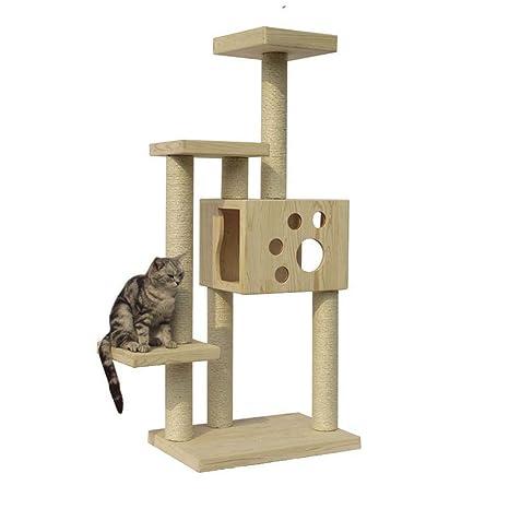 Kaxima Árbol para Gatos Gato Madera Maciza Muebles Gato Nido protección del Medio Ambiente Tres Capa