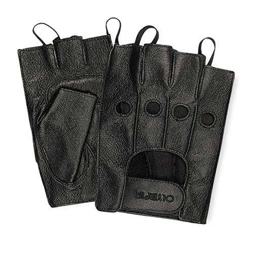 Olympia 407 Fingerless Gel Classic Motorcycle Gloves (Black, Large)
