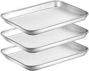 WEZVIX Stainless Steel Baking Sheet Set of 3 Tray Cookie Sheet Toaster Oven Pan Rectangle Size 9 x 7 x 1 inch, Non Toxic, Rust Free & Less Stick, Thick & Sturdy, Easy Clean & Dishwasher Safe