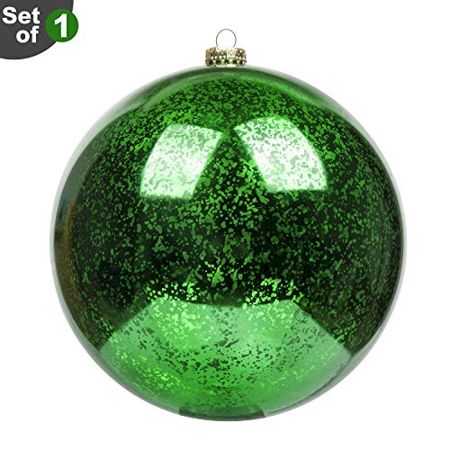 KI Store Large Christmas Ball Ornament Green Oversize Decorative Hanging Decoration Mercury Ball 8 Inch Shatterproof Vintage for Xmas -